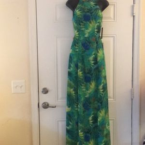 Lulus Green Print Maxi Strappy Backless Dress XS